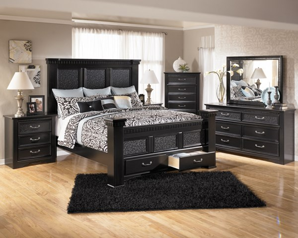 Cavallino Traditional Black Wood 2pc Bedroom Set B291-Set