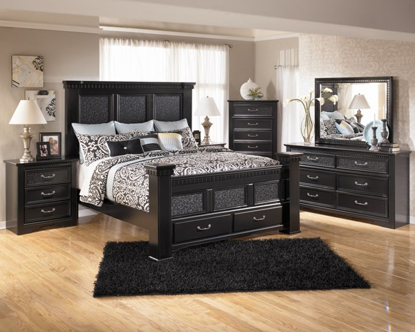 Cavallino Traditional Black Wood 2pc Bedroom Set W/King Storage Bed B291-Set2