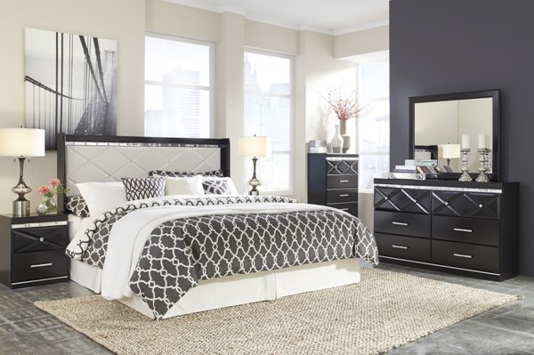 Fancee Black 2pc Bedroom Set W/Panel Headboards B348-BR-S