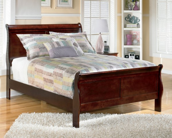 Alisdair Traditional Dark Brown Wood Queen Sleigh Bed B376-QP