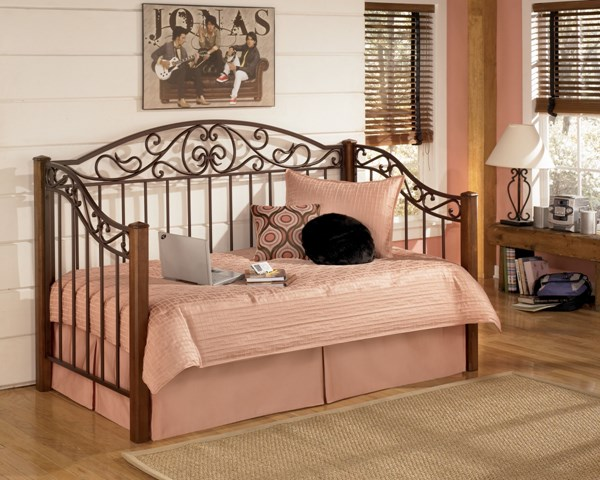 Wyatt Traditional Brown Cherry Wood Metal Day Bed The