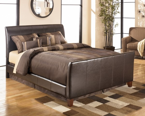 Stanwick Contemporary Brown Faux Leather PVC Bed B465-BedQ