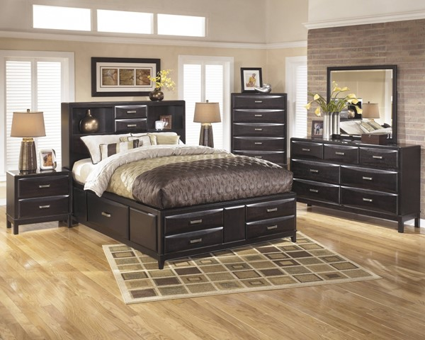 Kira Contemporary Black 2pc Bedroom Set W/Queen Storage Panel Bed B473-S4