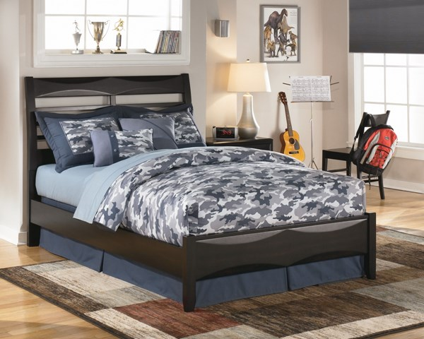 Kira Contemporary Black Wood Full Platform Bed B473-BedF