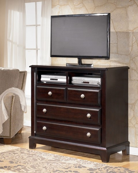 Ridgley Contemporary Dark Brown Wood Media Chest B520-39