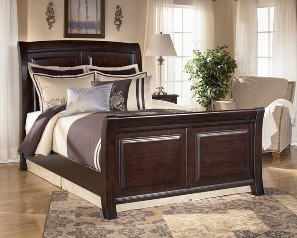 Ridgley Contemporary Dark Brown Wood Queen Sleigh Headboard B520-77