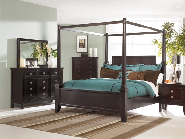Martini Suite 4pc Bedroom Set W Cal King Poster Canopy Bed