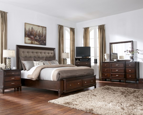 Larimer Contemporary Brown 5pc Bedroom Set W/Queen Storage Bed B654-S1