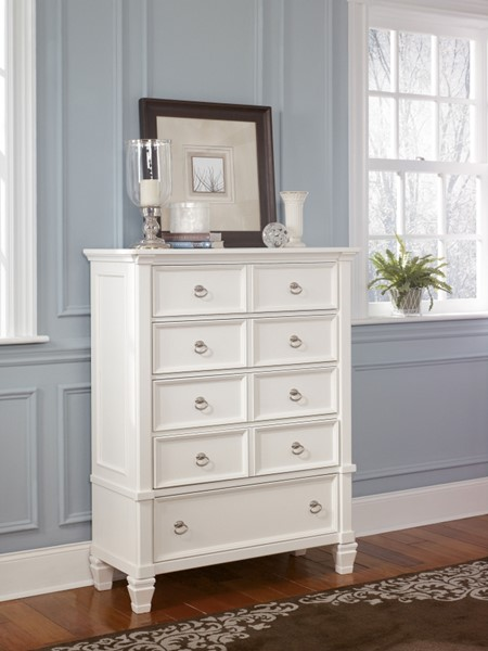 Prentice Cottage White Wood Bedroom Drawer Chest B672-46