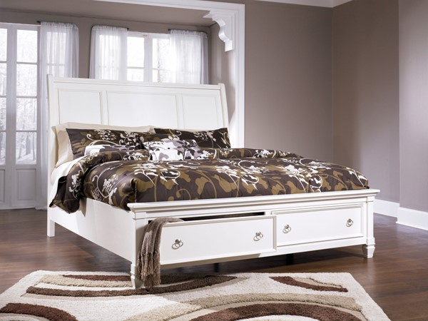 Prentice White Wood Bed Cottage Sets B672-B