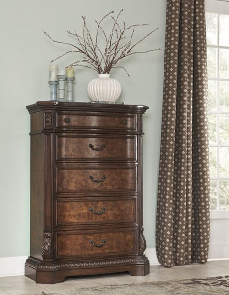 Ledelle Traditional Brown Wood Drawer Chest B705-46