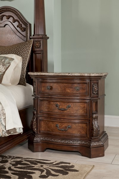 Ledelle Traditional Brown Wood Three Drawer Night Stand B705-93