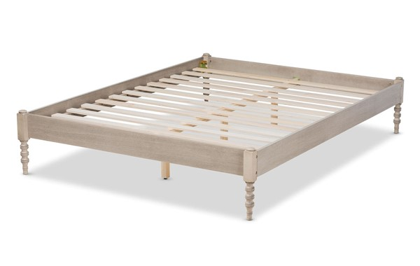 Baxton Studio Cielle Antique White Oak Wood King Platform Bed Frame BAX-MG0012-Antique-White-King