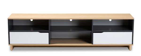 Baxton Studio Reed Oak Grey Wood 2 Drawers TV Stand BAX-TV8004-Oak-Grey-White-TV