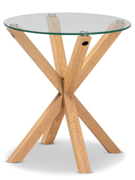 Baxton Studio Lida Natural Wood Clear Glass Top End Table BAX-Panama-Clear-Natural-ET