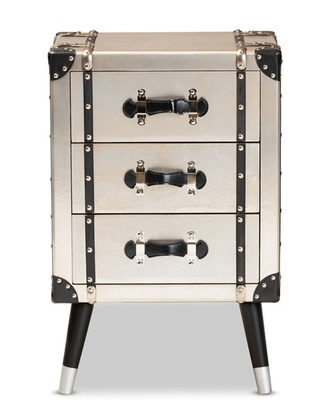 Baxton Studio Dilan Antique Silver Trunk Inspired 3 Drawers Night Stand BAX-JY19A109-Silver-NS
