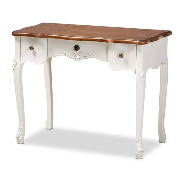 Baxton Studio Sophie White Brown Small 3 Drawer Console Table BAX-132050-White-Console