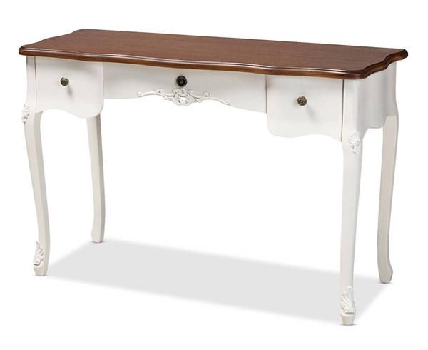 Baxton Studio Sophie White Brown Large 3 Drawer Console Table BAX-132051-White-Console