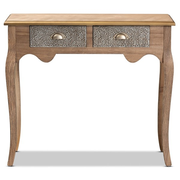 Baxton Studio Clarice Natural Brown 2 Drawers Console Table BAX-JY361-NATURAL-BROWN-CON