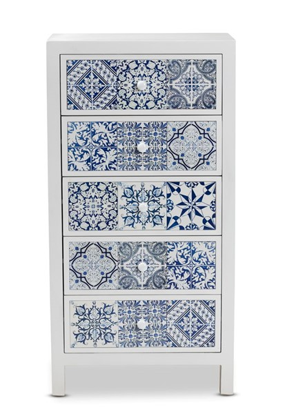 Baxton Studio Alma White Wood Blue Floral Tile 5 Drawers Accent Chest BAX-JY215-White-5DW-Chest