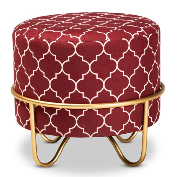 Baxton Studio Candice Red Velvet Upholstered Quatrefoil Ottoman BAX-JY19A255-Red-Gold-Otto