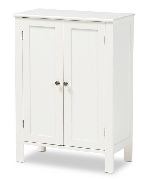Baxton Studio Thelma White Wood 2 door Storage Cabinet BAX-SR1801045-White-Cabinet