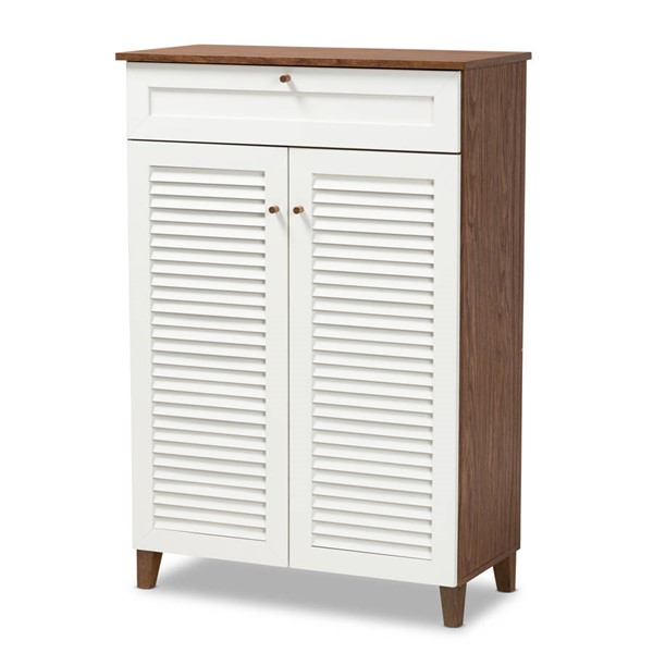 Baxton Studio Coolidge White Walnut 5 Shelf Shoe Storage Cabinet with Drawer BAX-FP-03LV-Walnut-White