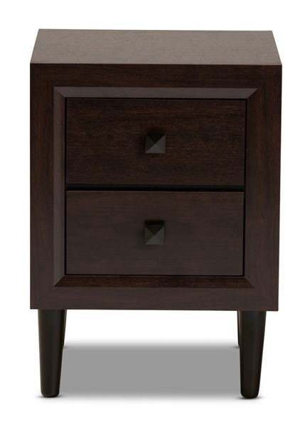Baxton Studio Feyan Cherry Brown Wood 2 Drawers Night Stand BAX-Feyan-Dark-Merlot-2DW-NS