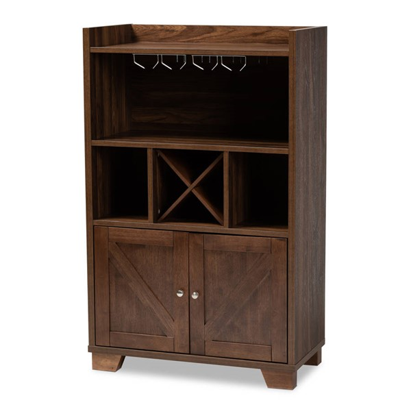 Baxton Studio Carrie Walnut Brown Wood Wine Storage Cabinet BAX-RT677-OCC-Walnut-Cabinet