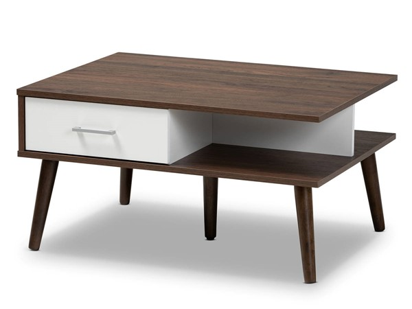 Baxton Studio Merlin Two Tone Walnut White 2 Drawer Coffee Table BAX-CT-1780-00-Columbia-White-CT