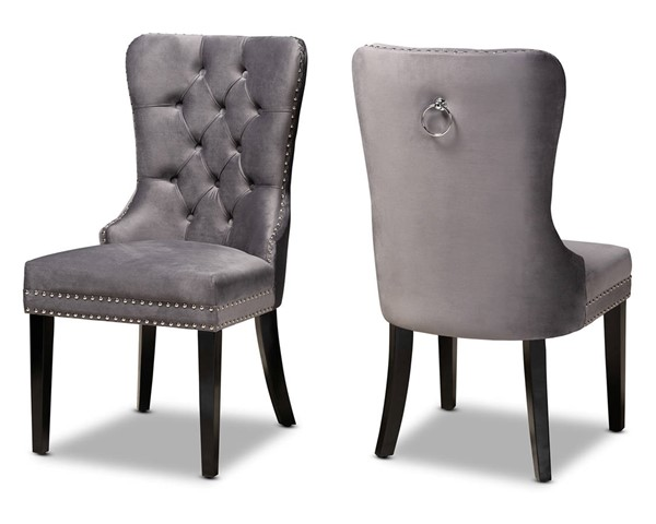 2 Baxton Studio Remy Grey Upholstered Dining Chairs BAX-WS-F458-GY-VLVT-ESP-DC