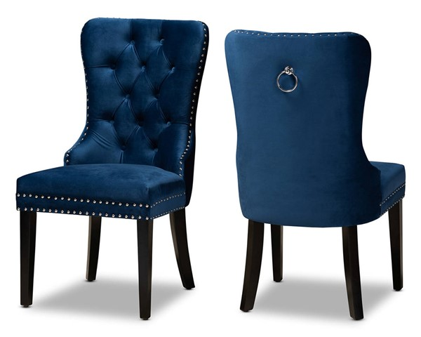 2 Baxton Studio Remy Navy Blue Upholstered Dining Chairs BAX-WS-F458-NV-BL-VLVT-ES-DC