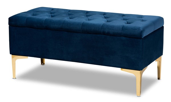 Baxton Studio Valere Navy Blue Upholstered Button Tufted Storage Ottoman BAX-WS-H68-GD-Navy-Blue-Velvet-Gold-Otto
