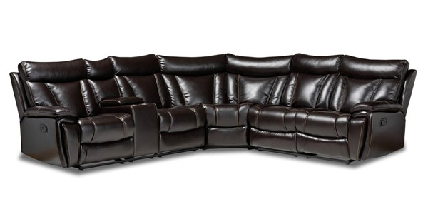 Baxton Studio Lewis Dark Brown Faux Leather 6pc Reclining Sectional BAX-5025B-Brown-SF