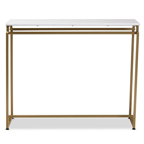 Baxton Studio Renzo Faux Marble Table Top Console Table BAX-AA-1820-Marble-Gold-Console