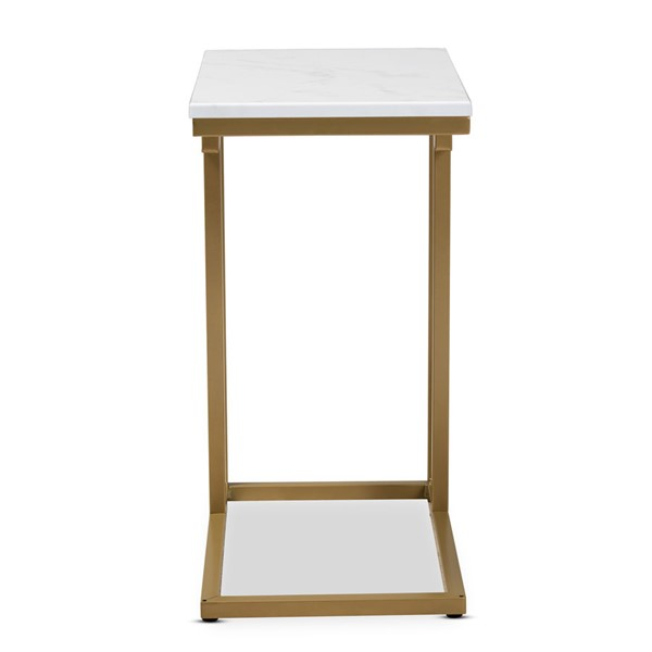 Baxton Studio Renzo Faux Marble Table Top End Table BAX-AA-1822-Marble-Gold-ET