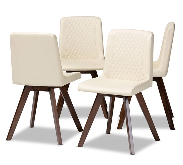 4 Baxton Studio Pernille Cream Faux Leather Upholstered Dining Chairs BAX-LW1902G-Cream-Walnut-DC