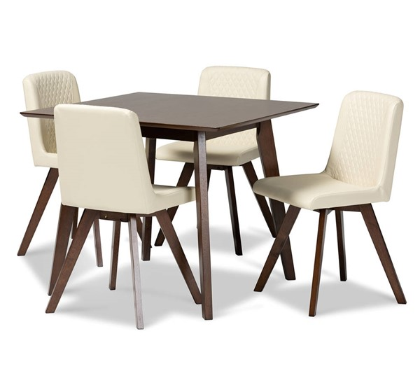 Baxton Studio Pernille Cream Faux Leather Upholstered 5pc Dining Set BAX-LW1902G-LWM90908HL32-Cream-Walnut-5PC-Dining-Set