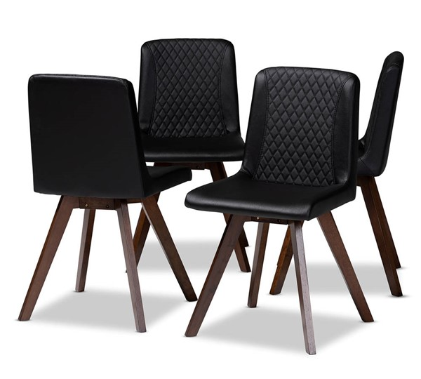 4 Baxton Studio Pernille Black Faux Leather Upholstered Dining Chairs BAX-LW1902G-Black-Walnut-DC