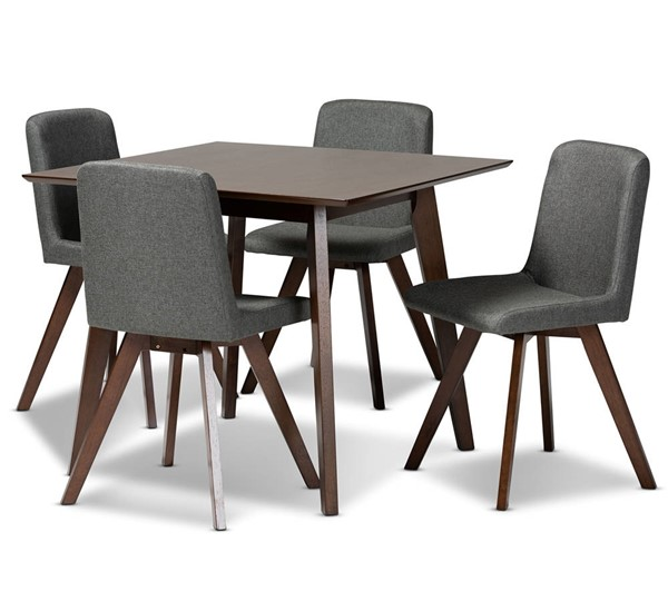 Baxton Studio Pernille Grey Fabric Upholstered 5pc Dining Set BAX-LW1902-LWM90908HL32-Grey-Walnut-5PC-Dining-Set