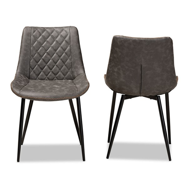 2 Baxton Studio Loire Grey Faux Leather Upholstered Dining Chairs BAX-T-18213-GY-BR-BLK-DC