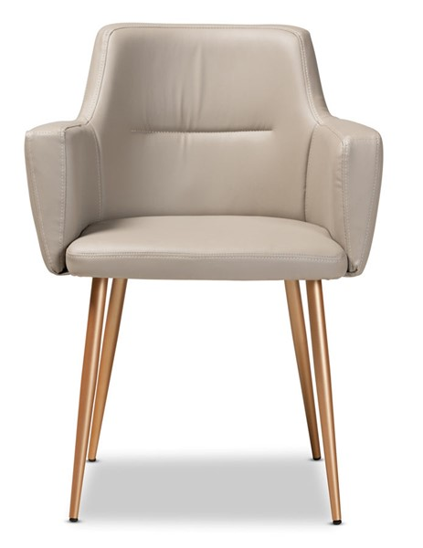 Baxton Studio Martine Beige Faux Leather Upholstered Dining Chair BAX-T-5907-Beige-PU-Gold-DC
