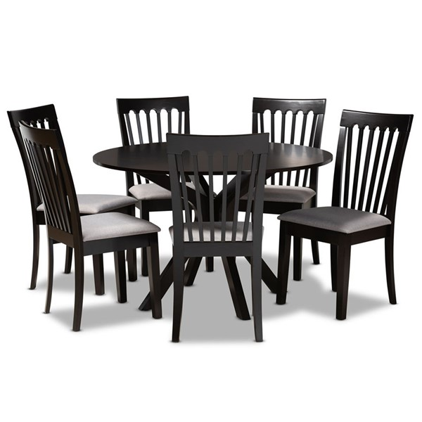 Baxton Studio Lore Grey Fabric Dark Brown Wood 7pc Dining Room Set BAX-LORE-GY-DBR-7PCDINSET