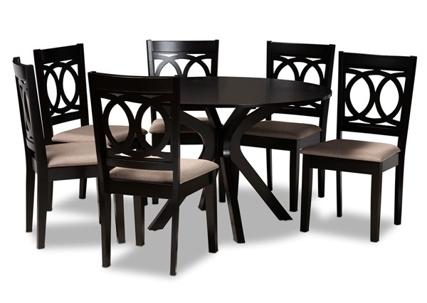 Baxton Studio Sanne Sand Dark Brown 7pc Dining Room Set BAX-Sanne-Sand-Dark-Brown-7PC-Dining-Set