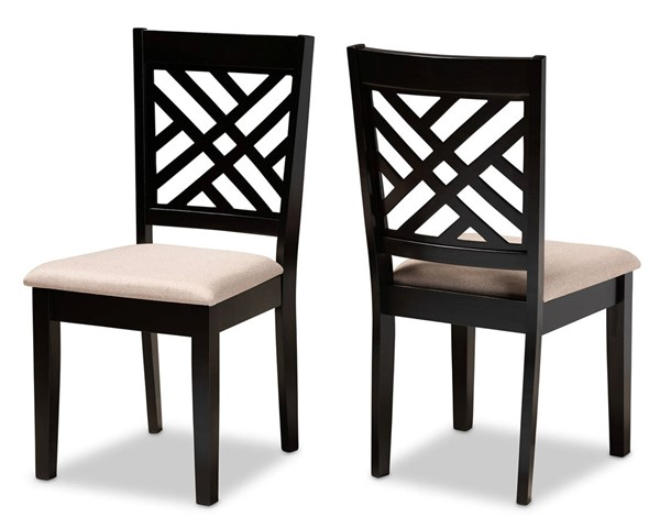 2 Baxton Studio Caron Sand Fabric Upholstered Dining Chairs BAX-RH317C-Sand-Dark-Brown-DC-2PK