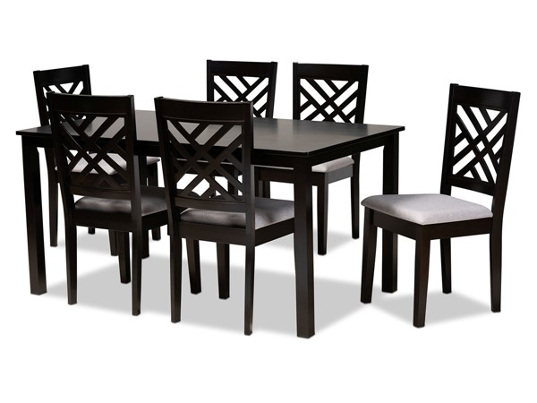 Baxton Studio Caron Grey Fabric 7pc Dining Set BAX-RH317C-GY-DBR-7PCDINSET
