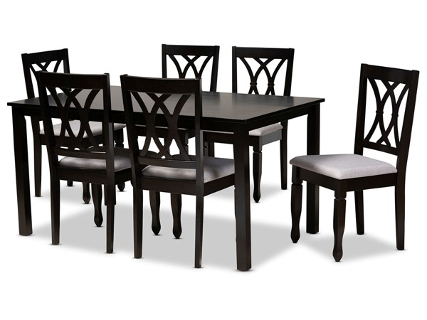 Baxton Studio Reneau Grey Upholstered 7pc Dining Set BAX-RH316C-GY-DBR-7PCDINSET