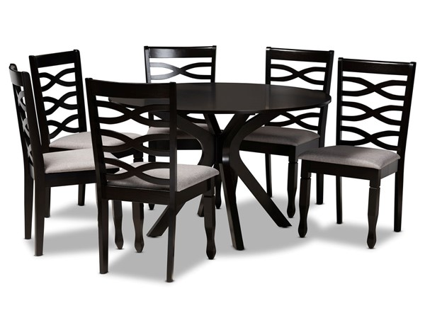 Baxton Studio Mila Grey Dark Brown 7pc Dining Room Set BAX-Mila-Grey-Dark-Brown-7PC-Dining-Set