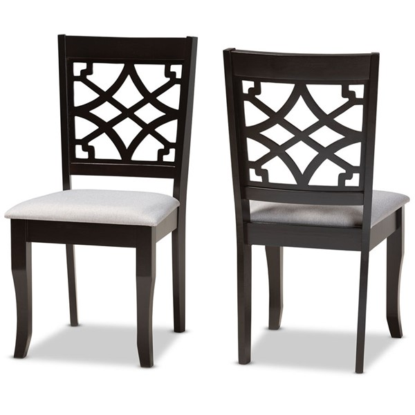 2 Baxton Studio Mael Grey Fabric Dark Brown Finished Wood Dining Chairs BAX-RH331C-GY-DBR-DC-2PK