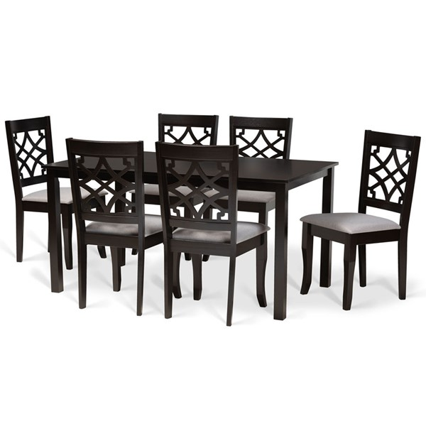 Baxton Studio Mael Grey Fabric Dark Brown Finished Wood 7pc Dining Set BAX-RH331C-GY-DBR-7PCDINSET